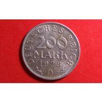 200 марок 1923 D. Германия (Веймарская республика-марка).