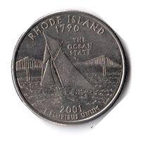 США. 1/4 доллара (1 квотер, 25 центов). 2001. Род-Айленд. D