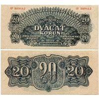 Чехословакия. 20 крон (образца 1944 года, P47, aUNC)