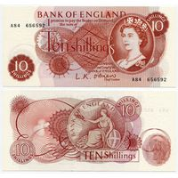 Великобритания. 10 шиллингов (образца 1961 года, P373a, подпись O'Brien, UNC)