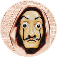 "Острова Кука 5 долларов 2018г. ""Маска Сальвадора Дали"". Монета в капсуле; шикарном подарочном футляре; сертификат; коробка. СЕРЕБРО 31,135гр.(1 oz)."