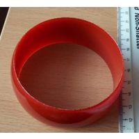 Винтажный красный пластиковый браслет, ширина 3 см, диаметр 7 см