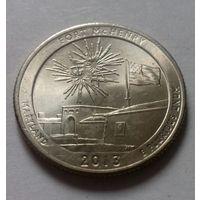 """25 центов, квотер США, нац. парк """"Форт Мак-Генри"""" (штат Мэриленд), P D"""