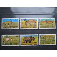 Марки - фауна, Чад, антилопа, носорог, леопард и др.
