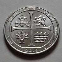 25 центов, квотер США, нац. истор. парк Миссия Сан-Антонио, штат Техас, P D