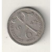 Южная Родезия 6 пенс 1947