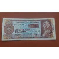 Банкнота 100000 песо Боливия 1984