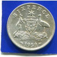 Австралия 6 пенсов 1959 , серебро