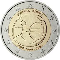 2 евро 2009 Кипр 10 лет монетарной политики ЕС UNC из ролла