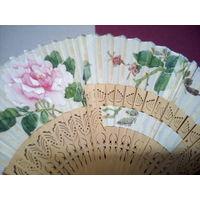 Веер Китай 1950-е, ткань, дерево, Торг