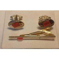 Костюмный комплект-запонки и зажим для галстука,металл