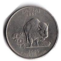 США. 1/4 доллара (1 квотер, 25 центов). 2005. Канзас. P