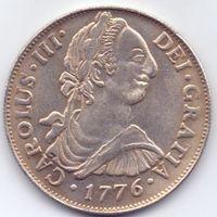 Испания-Перу, 8 реалов 1776 года. Карлос 3. Посеребрённая КОПИЯ.