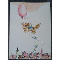 Пликионите Ю. Поздрав.открытка Кот на шарике. Литва. 1976 г. Чистая