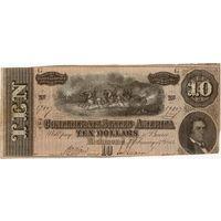 США, Конфедерация, Ричмонд, 10 долларов, 1864 г. Серия G. Не частые!