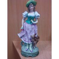 Фарфоровая статуэтка -девушка с олененком-германия