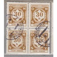 Германия рейх  Богемия и Моравия 1941 г служебные квартблок цена за 1 на Ваш выбор отличается оттенком лот 5