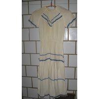 Платье белое хлопок(марля) с вьюнком и кружевом.Размер 42-44.