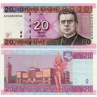 Литва. 20 лит (образца 2007 года, P69, XF) [серия AH]