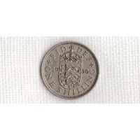 Великобритания 1 шиллинг 1956/три льва в щите(Uss)