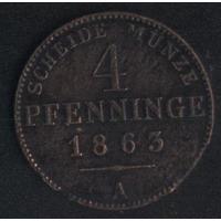 Германия Пруссия 4 пфеннига 1863 г. (*). Состояние на фото!!!