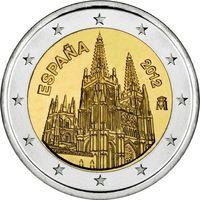 2 евро Испания 2012 Кафедральный готический собор в Бургос UNC из ролла