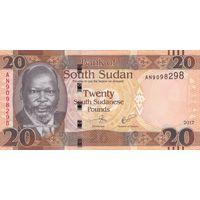 Южный Судан 20 фунтов 2017 года (UNC)