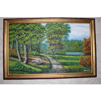 """Картина """"Утро в сентябрьском лесу"""" 2009 год. Арголит - масло,  40 х60 см. Авторская."""
