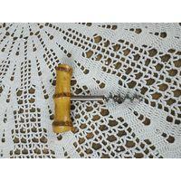 Винтажный штопор для вина металл бамбук