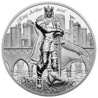 "RARE Острова Кука 10 долларов 2016г. ""Камелот: Король Артур"". Монета в капсуле; подарочном футляре; сертификат; коробка. СЕРЕБРО 62,27гр.(2 oz)."