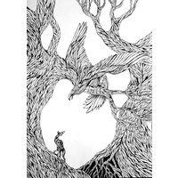 "Авторский рисунок гелевой ручкой на ватмане ""Охота"". Размер А3"