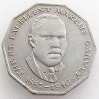 Ямайка, 50 центов 1975 года, выдающиеся личности, необычная форма, Маркус Гарви (17.08.1887 - 10.06.1940) - активный деятель негритянского движения за равноправие и освобождение от угнетения, KM#65