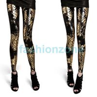 Мега модные чёрно-золотые леггинсы