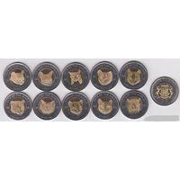 NEW! Пунтленд. Полный набор 10 монет по 25 шиллингов 2015г. Кошки мира биметалл АНЦ.
