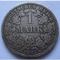 Германия 1 марка 1887 отметка монетного двора A - Берлин
