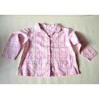 Розовая клетчатая рубашка, 12-18 мес.
