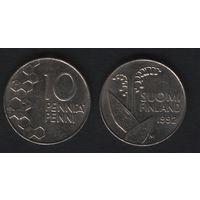 Финляндия km65 10 пенни 1992 год (M) (f31)*