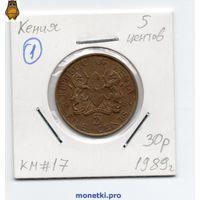 Кения 5 центов 1989 года.