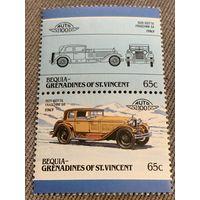 Бекия. Сент-Винсент и Гренадины. Автомобили мира. Issota Fraschini 8A 1929. Марка из серии