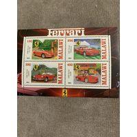 Малави 2013. Автомобили Феррари. Малый лист