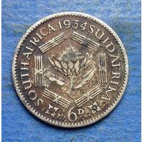 Южная Африка Британский доминион 6 пенсов 1934 Георг V