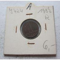 Австрия 1 грош 1937 - холдер, состояние!