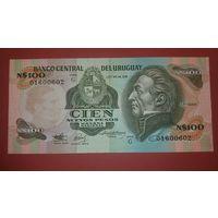 Банкнота 100 новых песо   Уругвай  1975