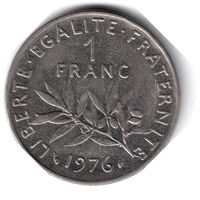 Франция. 1 франк. 1976 г.
