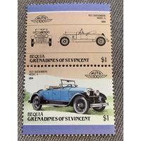 Бекия. Сент-Винсент и Гренадины. Автомобили мира. Duesenberg Model A 1922. Марка из серии