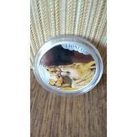 Монета серебро  50 cents львица и львенок. Австралия.
