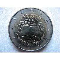 Нидерланды 2 евро 2007г. 50 лет подписания Римского договора. (юбилейная) UNC!