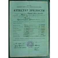 Аттестат зрелости. 1955г. г.Ружаны. БССР.