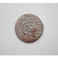 Solidus (Shilling) 1657г. Карл X Густав. - прочекан.  С 1 рубля.