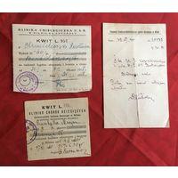 Больничные квитанции 1920-1930-е года Wilno цена за все